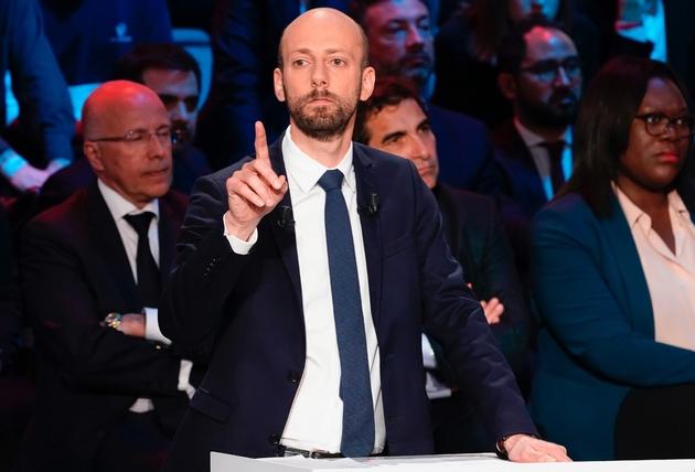 Le patron de LREM, Stanislas Guerini, le 10 avril 2019 lors d'un débat sur CNews