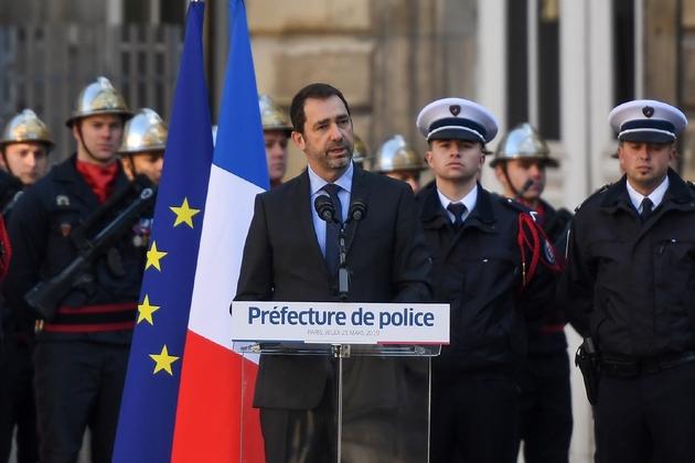 Le ministre de l'Intérieur Christophe Castaner prononce un discours lors de la cérémonie d'intronisation du nouveau préfet de police de Paris, le 21 mars 2019