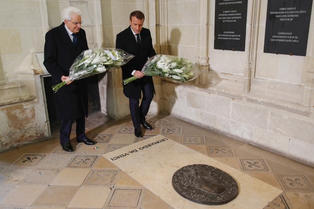500e anniversaire de la mort de Léonard de Vinci, en présence d'Emmanuel Macron et du président italien Sergio Mattarella, le 2 mai 2019 à Amboise