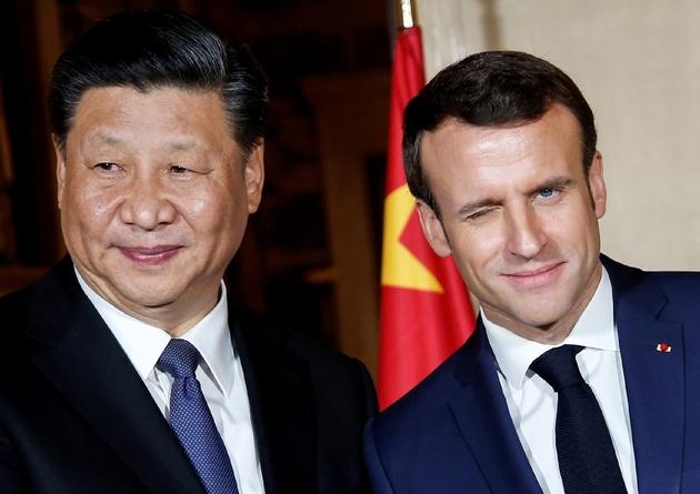 Emmanuel Macron et Xi Jinping à leur arrivée à la villa Kérylos