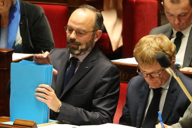 Le Premier ministre Edouard Philippe et Marc Fesneau, ministre des Relations avec le parlement, à l'Assemblée nationale le 14 janvier 2020