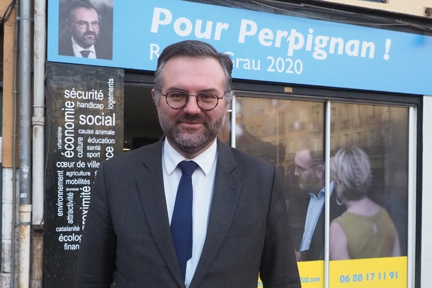 Le candidat LREM aux municipales, Romain Grau, le 27 janvier 2020 à Perpignan