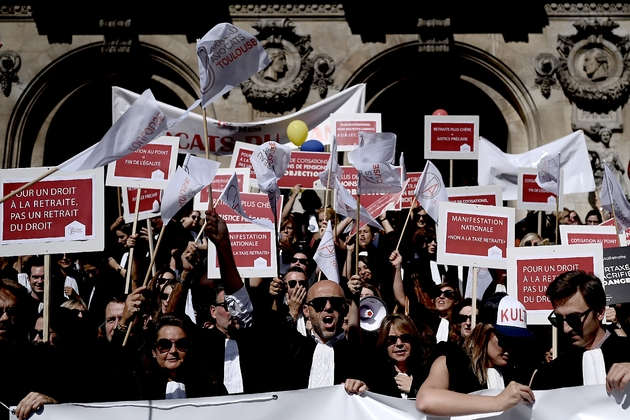 Les avocats en grève contre la réforme des retraites, le 16 septembre 2019 à Paris