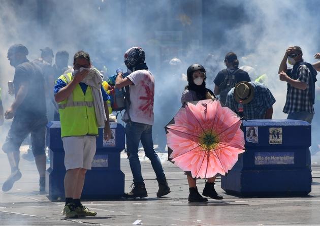 """Manifestation à l'appel des """"Gilets jaunes"""" à Montpellier, le 8 juin 2019."""