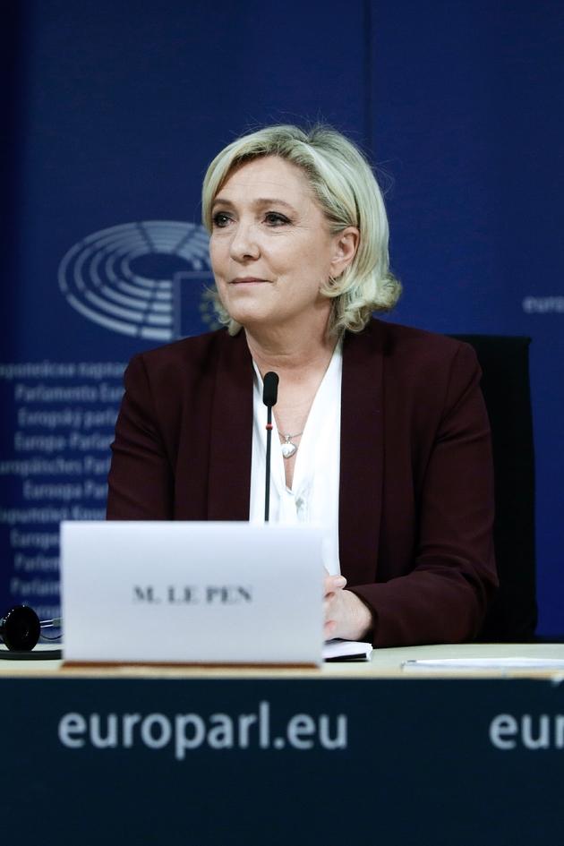 La cheffe de l'extrême droite française Marine Le Pen, lors d'une conférence de presse le 13 juin 2019 à Bruxelles
