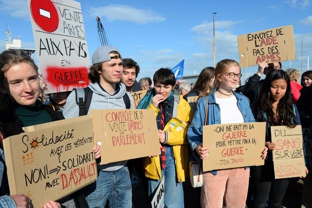 Rassemblement sur le port du Havre contre les ventes d'armes à l'Arabie Saoudite, le 9 mai 2019