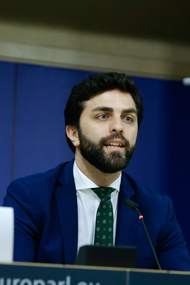 L'Italien Marco Zanni, de la Ligue (extrême droite), lors d'une conférence de presse le 13 juin 2019 à Bruxelles