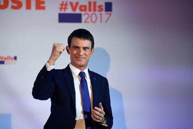 Manuel Valls, arrivé 2e du premier tour de la primaire élargie du PS, le 22 janvier 2017 à Paris