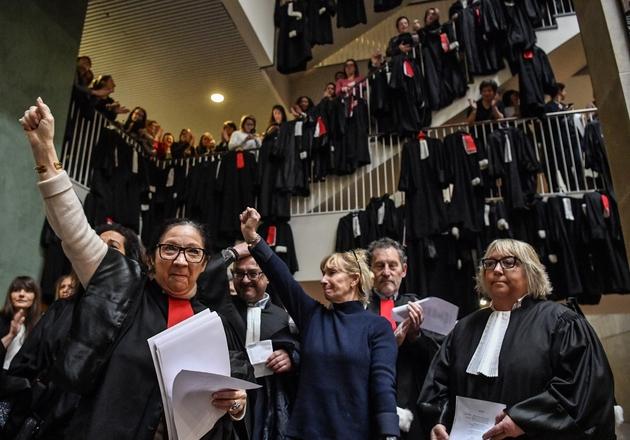 Manifestation des avocats du barreau de Lyon, le 13 janvier 2020