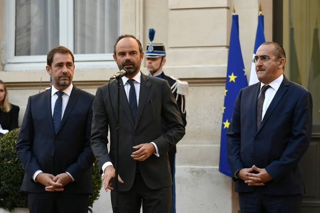 Edouard Philippe et Christophe Castaner, le nouveau ministre de l'Intérieur (g), le 16 octobre 2018 Place Beauvau