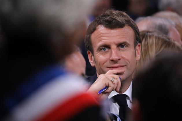 Emmanuel Macron lors du dernier débat à Cozzano en Corse du sud, le 4 avril 2019