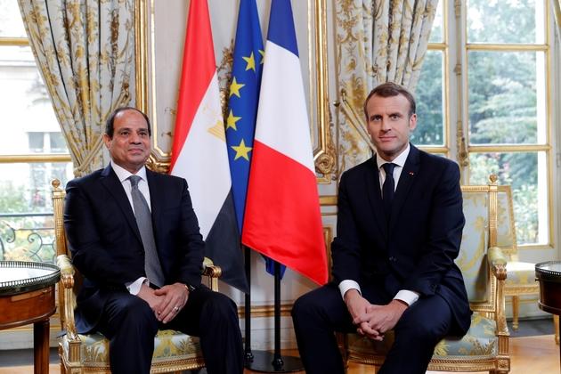 Emmanuel Macron au côté du président égyptien Abdel Fattah al-Sissi, à l'Elysée, le 24 octobre 2017