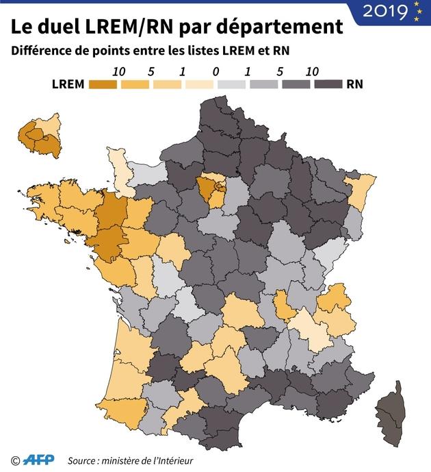 Le duel LREM/RN par département