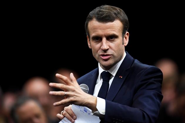 Emmanuel Macron participe à un débat à Gréoux-les-Bains, le 7 mars 2019
