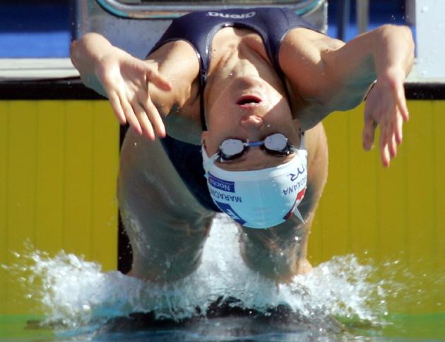 Roxana Maracineanu lors des championnats d'Europe de natation à Madrid, le 10 mai 2004