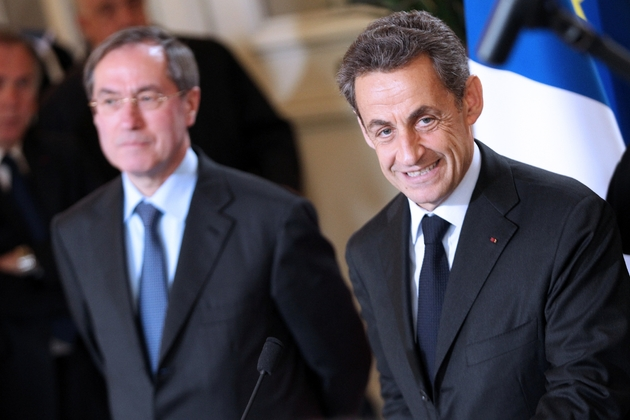 Claude Guéant et Nicolas Sarkozy, le 13 avril 2012 à Ajaccio