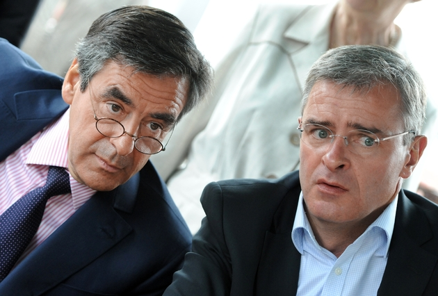 François Fillon et Marc Joulaud le maire de Sablé-sur-Sarthe à Sablé-sur-Sarthe le4 juin 2012