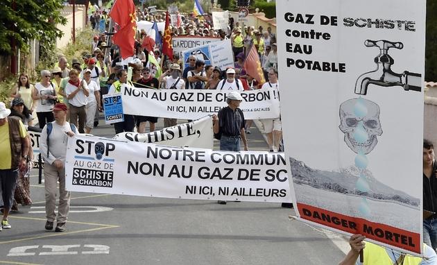 Manifestation contre le gaz de schiste le 28 juin 2014 à Argeliers, dans l'Aude