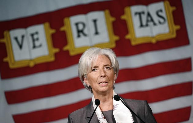 L'ex-ministre de l'Économie Christine Lagarde et patronne du FMI à Cambridge, le 23 mai 2012