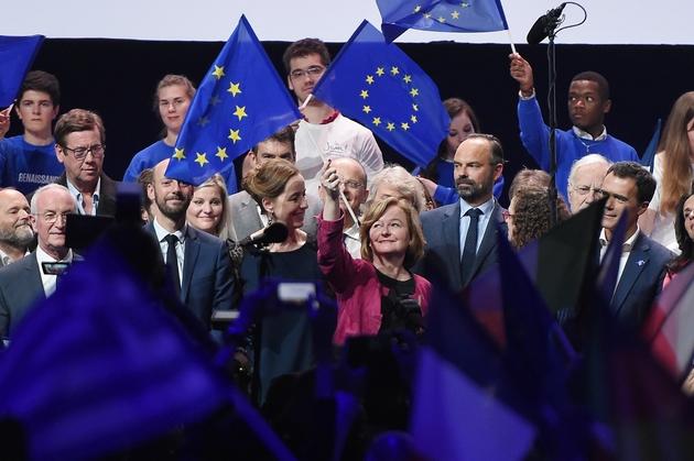 Nathalie Loiseau (c), tête de liste LREM pour les européennes, le 11 mai 2019 lors d'un meeting à Strasbourg