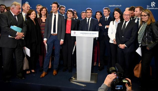 Christian Jacob lors de la présentation à la presse de la nouvelle direction des Républicains, le 23 octobre 2019 à Paris