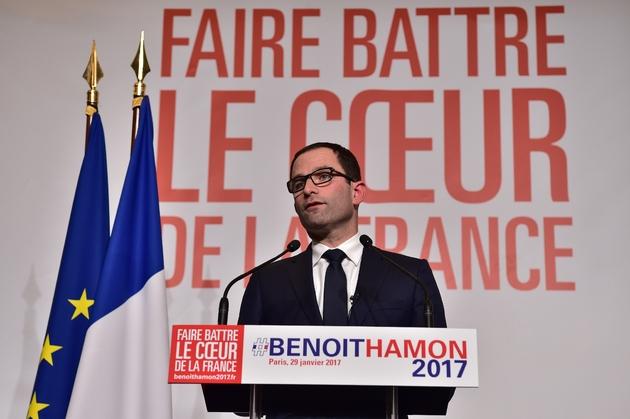 Benoît Hamon lors de son discours prononcé au soir de sa victoire au second tour de la primaire PS, le 29 janvier 2017 à Paris