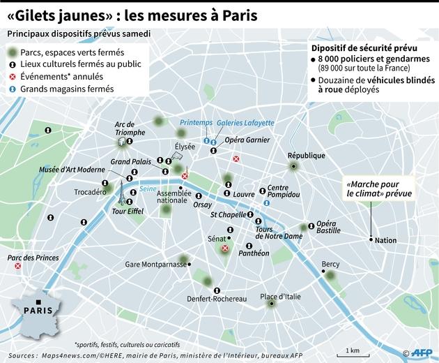 """""""Gilets jaunes"""" : les mesures à Paris"""