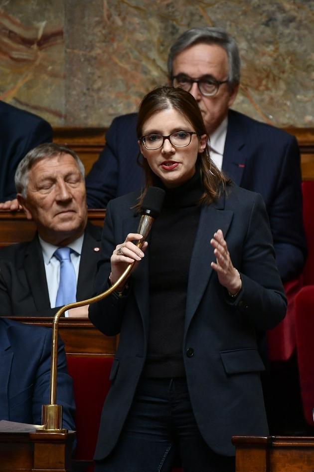 La porte-parole LREM Aurore Bergé (c), le 7 mai 2019 à l'Assemblée nationale, à Paris