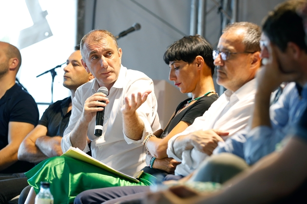 Jean-Christophe Angelini (c), membre du Partitu di a Naziona Corsa (PNC), le 4 août 2019 lors des 39e Journées internationales de Corte