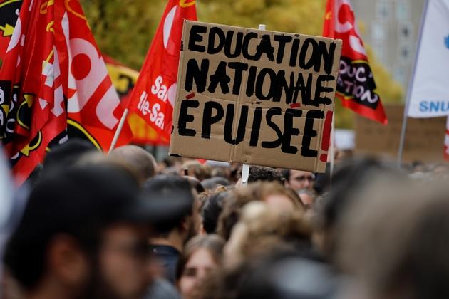 Manifestation d'enseignants à Bobigny, en Seine-Saint-Denis, le 3 octobre 2019