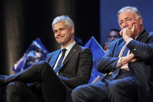 Le président des Républicains (LR) Laurent Wauquiez (G) et le président du sénat Gérard Larcher, le 15 mai 2019 à Paris