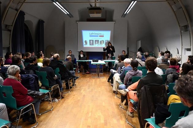 Les finalistes de LaPrimaire.org lors d'un meeting à Strasbourg le 8 décembre 2016