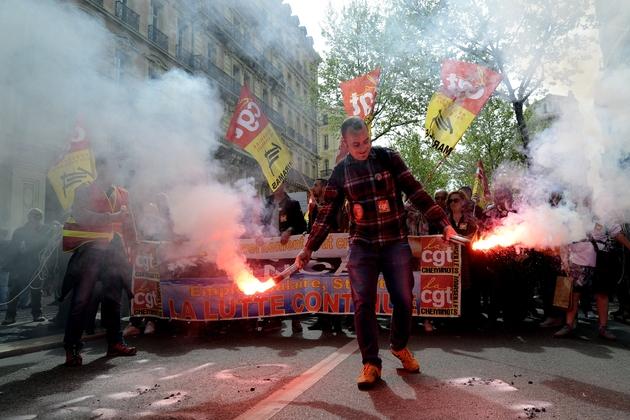 Manifestation à Marseille contre la politique du président Emmanuel Macron, le 14 avril 2018