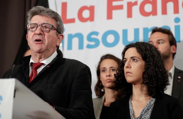 Jean-Luc Mélenchon et Manon Aubry après l'annonce des résultats à Paris, le 26 mai 2019