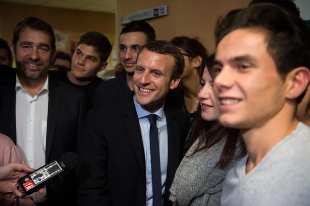 Christophe Castaner (G)  Emmanuel Macron le 17 novembre 2016 à Marseille