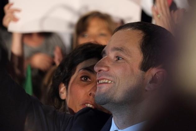 Benoit Hamon lors d'un rassemblement politique le 18 janvier 2017 à Paris