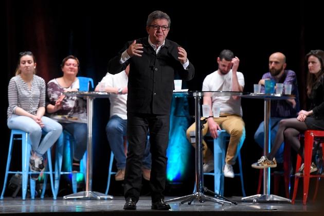 Le chef de file de La France insoumise Jean-Luc Mélenchon lors d'un meeting à Bordeaux, le 29 avril 2019