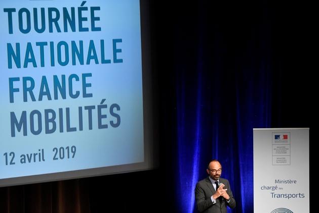 """Edouard Philippe à Grans (Bouches-du-Rhône), le 12 avril 2019 pour la première étape de la tournée nationale """"France Mobilités"""""""