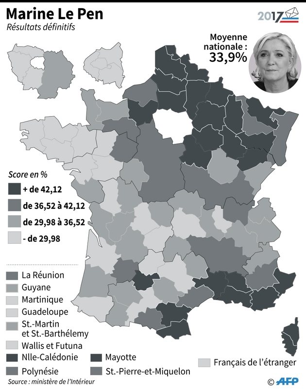 Second tour: score de Marine Le Pen par département