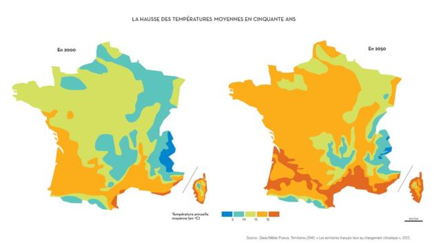 Carte d'augmentation des températures