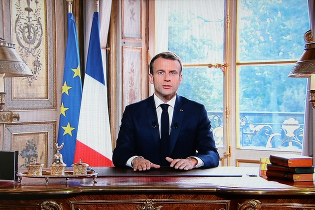 Le président Emmanuel Macron lors d'une allocution télévisée après les résultats du référendum d'autodétermination en Nouvelle-Calédonie, le 4 novembre 2018 à l'Elysée, à Paris