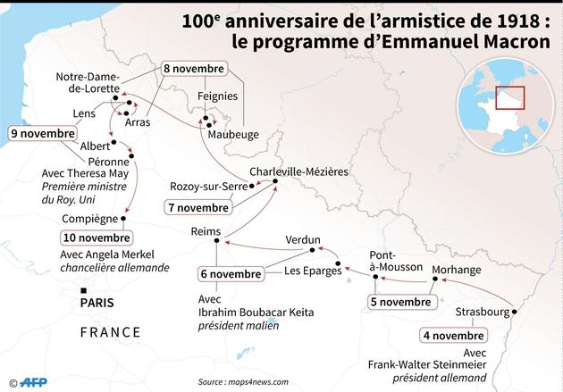 100e anniversaire de l'armistice : le périple de Macron