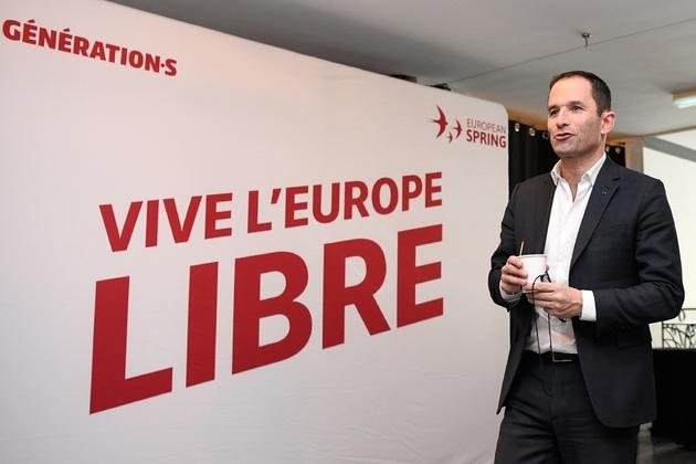 Benoît Hamon, fondateur du parti Générations.s lors d'un meeting pour les Européennes, le 3 avril 2019 à Paris
