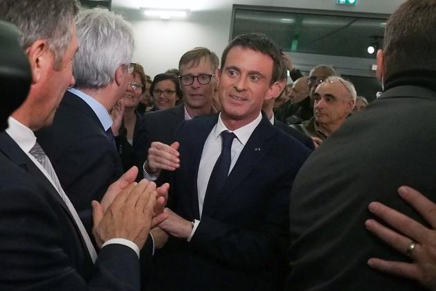 Manuel Valls en meeting le 12 décembre 2012 à Villemoustaussou dans le sud de la France