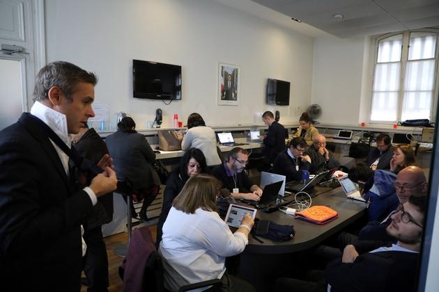 Des journalistes dans la salle de presse de l'Elysée, le 10 novembre 2018
