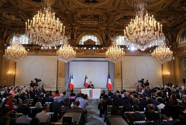 Emmanuel Macron lors de sa conférence de presse à l'Elysée, le 25 avril 2019