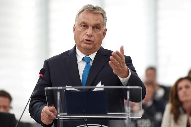 Le Premier ministre hongrois Victor Orban devant le Parlement européen à Strasbourg, le 11 septembre 2018