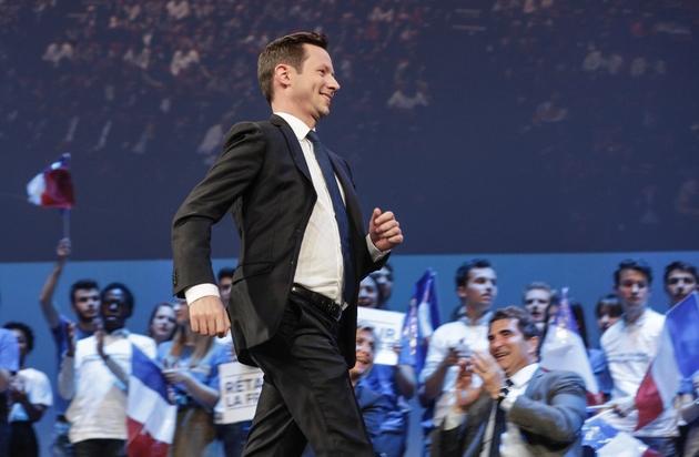 Francois-Xavier Bellamy lors d'un meeting à Paris le 15 mai 2019