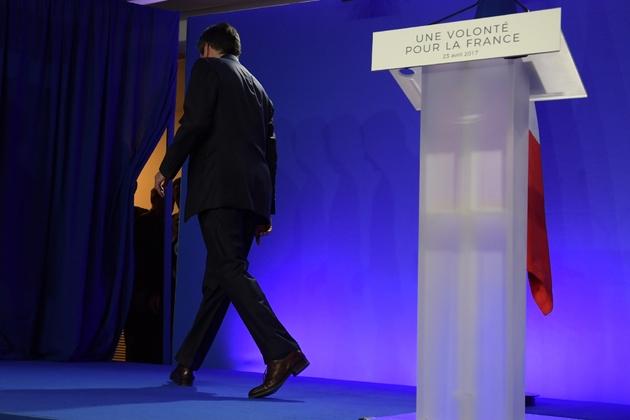 François Fillon vient de terminer son discours après son élimination au 1er tour de l'élection présidentielle, le 23 avril 2017
