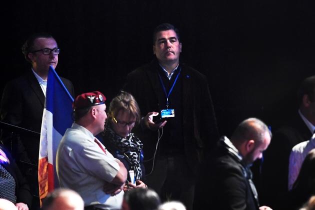 Frederic Chatillon (au centre) lors d'un meeting du FN en avril 2017